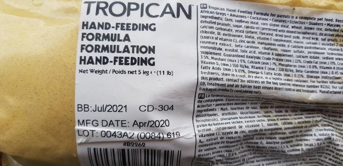 Tropican hand raising mix. / hand feeding formuls