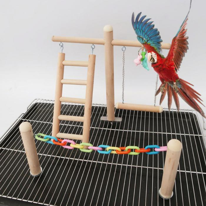 Bird Toys for Cages Large Bird Gym Parrot Play Stand Wooden