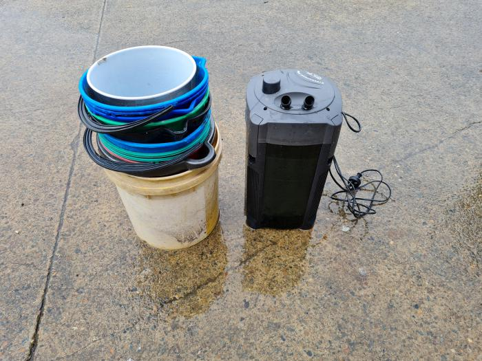 15 Buckets and Aqua One Canister Filter For Free at WTFish!